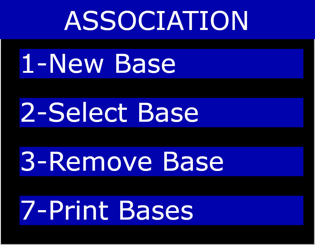 Association Menu on New Base