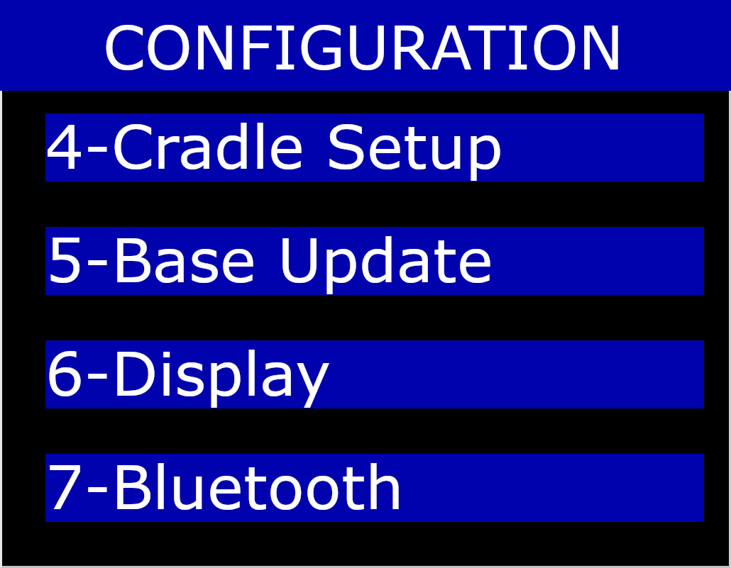 Hardware Menu on Cradle Setup