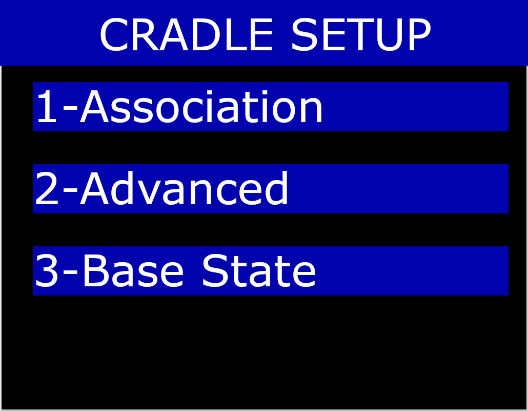 Cradle Setup Menu on Association