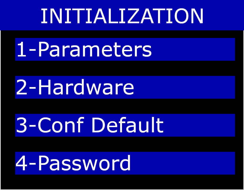 Initialization Menu on Hardware